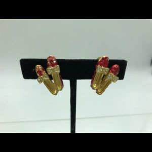 Ruby Red Jeweled Shoe Earrings